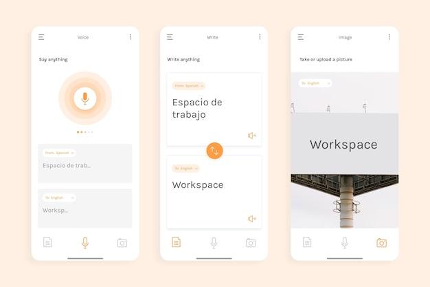 Concept d'interface d'application de traducteur