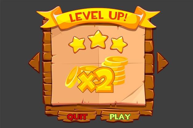 Concept d'interface de jeu avec doublage et niveau up.