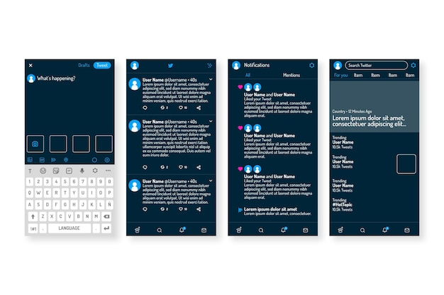 Concept d'interface twitter