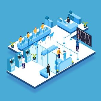 Concept d'intérieur de banque isométrique