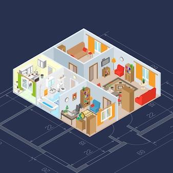 Concept intérieur isométrique