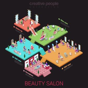 Concept d'intérieur de salon de beauté planchers de bâtiment réception ongles cheveux soins de la peau maquillage plat isométrique.