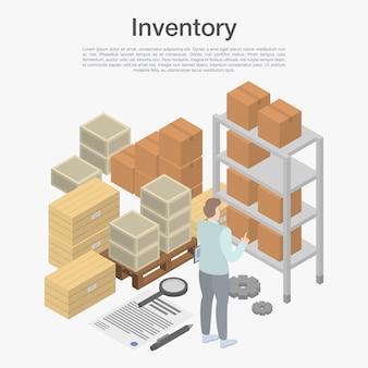 Concept d'inventaire, style isométrique