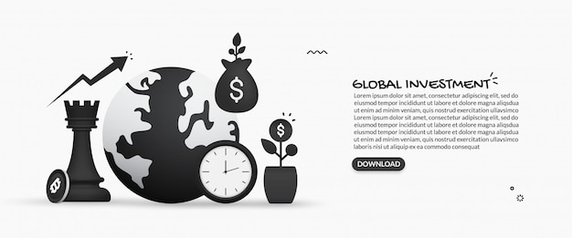 Concept d'investissement commercial mondial, illustration du retour sur investissement, hausse financière