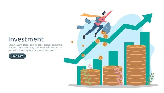 Concept d'investissement commercial. pièce de monnaie de pile de dollar, personnes minuscules, argent