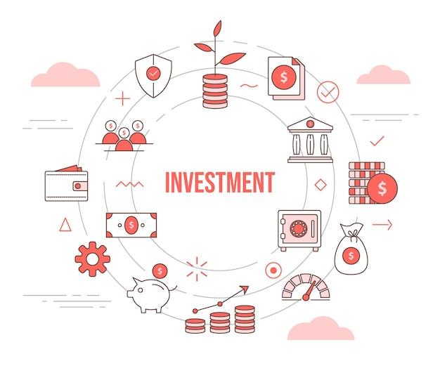 Concept d'investissement croissance plante banque d'investissement coffre-fort pièce d'argent tirelire portefeuille avec icon set modèle avec cercle forme ronde