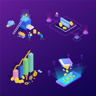 Concept d'investissement en gestion financière. peut utiliser pour la bannière web, infographie, images de héros. illustration vectorielle d'élément isométrique plat.