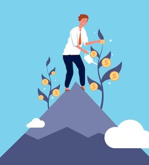 Concept d'investissement. homme d'affaires croissance argent finance ou opportunité d'affaires vector illustration plate de fond. investissement de financement à profit, illustration d'opportunité de gains financiers homme d'affaires