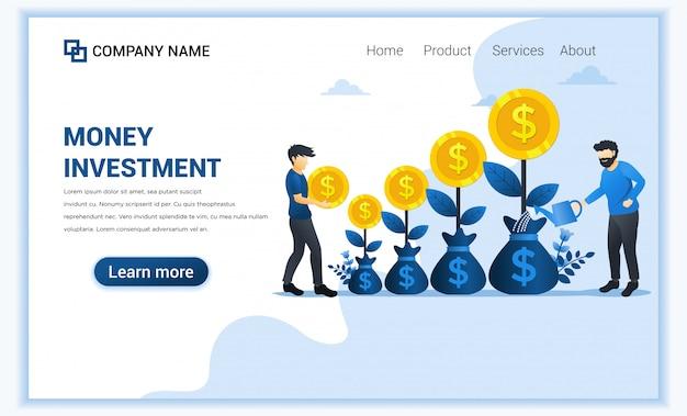 Concept d'investissement monétaire avec des hommes arrosant l'arbre d'argent et collecter des pièces, augmenter les bénéfices, développer les affaires.