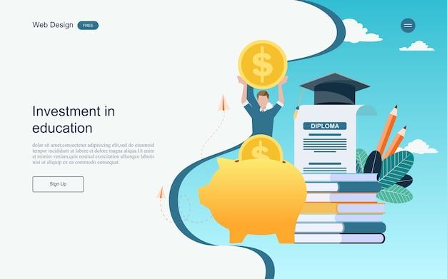 Concept d'investissement pour l'éducation en ligne d'apprentissage, de formation et de cours.