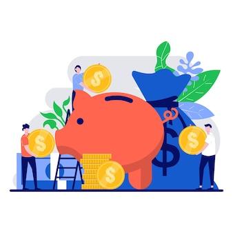 Concept d'investissement et de richesse financière avec un caractère minuscule