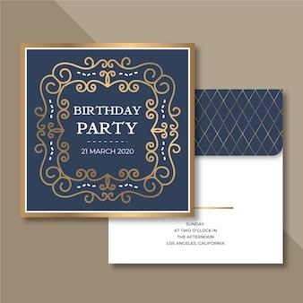 Concept d'invitation d'anniversaire élégant pour modèle