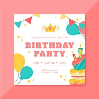 Concept d'invitation d'anniversaire