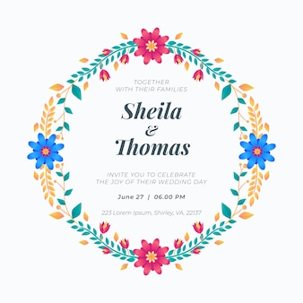 Concept d'invitation de cadre floral de mariage