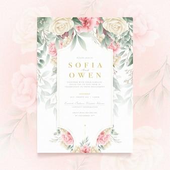 Concept d'invitation d'engagement floral
