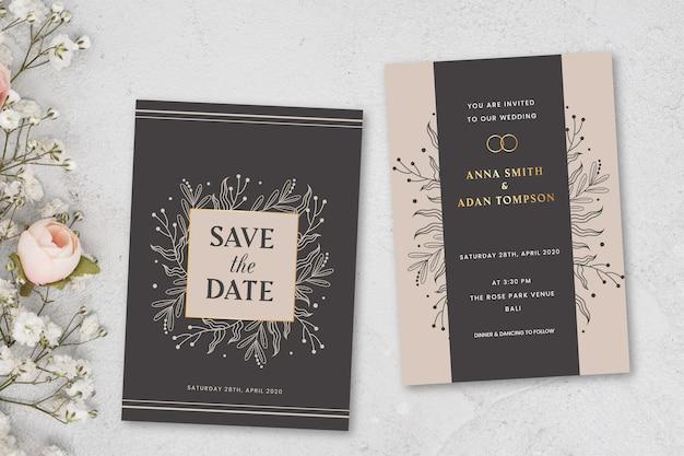 Concept d'invitation de mariage élégant