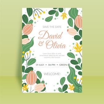 Concept d'invitation de mariage floral