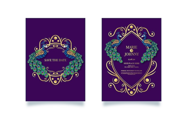 Concept d'invitation de mariage avec un paon
