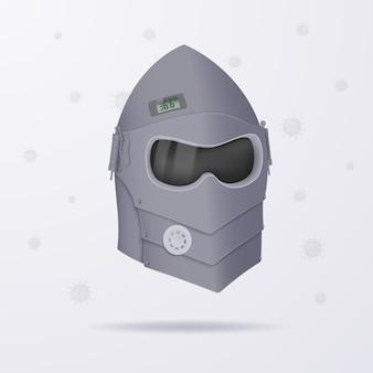 Le concept d'isolement d'une personne de la société et des virus sous la forme d'un casque de chevalier.