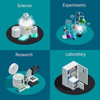 Concept isométrique 2x2 du laboratoire scientifique avec substance pour l'expérience et équipement pour la recherche