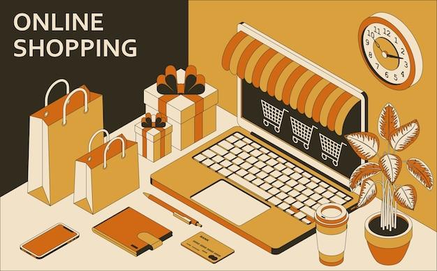 Concept isométrique d'achats en ligne avec ordinateur portable ouvert, sacs à provisions, coffrets cadeaux, portefeuille et café.