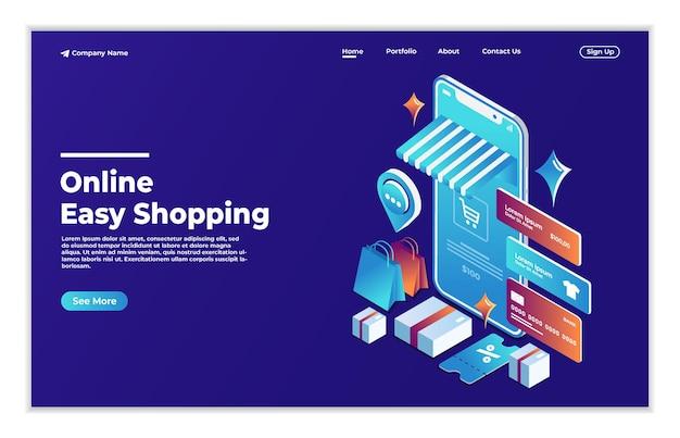 Concept isométrique d'achats mobiles en ligne
