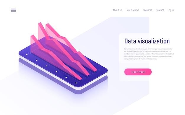 Concept isométrique d'analyse, d'analyse de données et de visualisation en ligne.