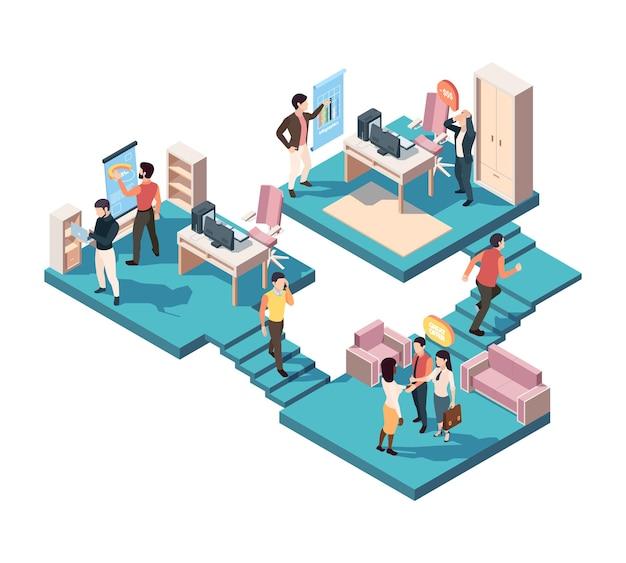 Concept isométrique d'analyse d'entreprise de travail d'équipe. les gestionnaires d'analystes de l'équipe d'illustration ont bien coordonné le système de marketing de développement, la gestion du personnel créatif, un partenariat réussi.