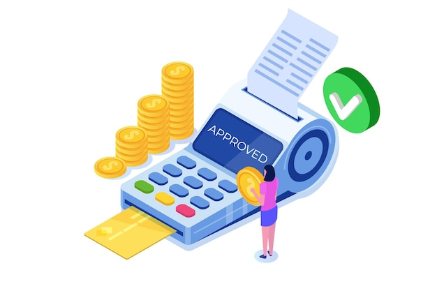 Concept isométrique approuvé par transaction. utilisation du terminal de point de vente.