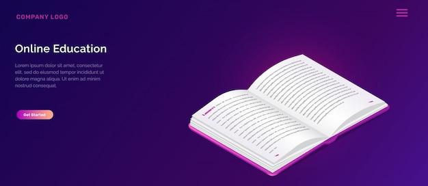 Concept isométrique de bibliothèque en ligne ou d'éducation