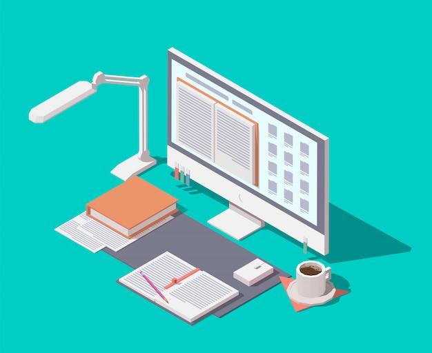 Concept isométrique de la bibliothèque en ligne.