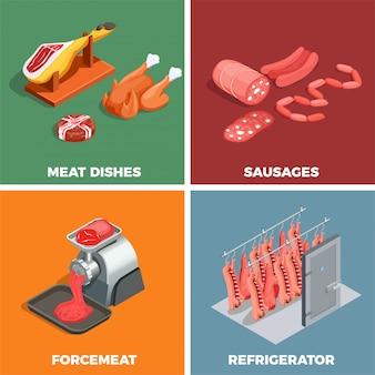 Concept isométrique de boucherie