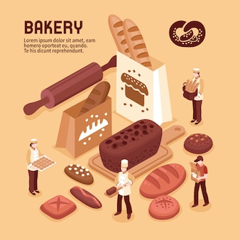 Concept isométrique de boulangerie