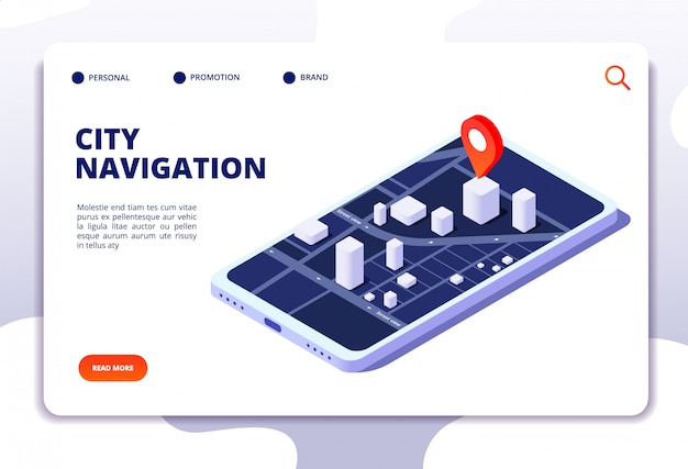 Concept isométrique de carte de navigation. système de localisation gps. traqueur de téléphone avec positionnement mondial. page de destination