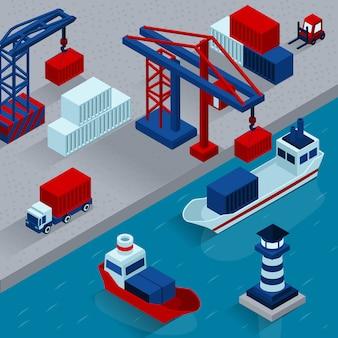 Concept isométrique de chargement de cargaison de port maritime