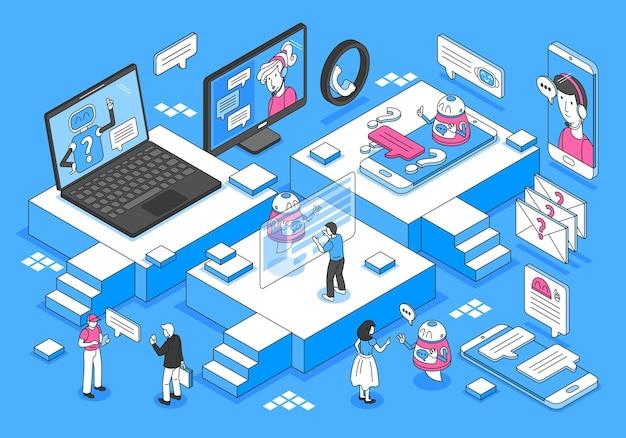 Concept isométrique de chatbot avec communication et retour d'information