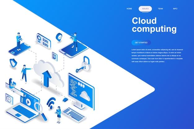 Concept isométrique de cloud computing design plat moderne.