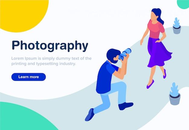 Concept isométrique de conception de la photographie