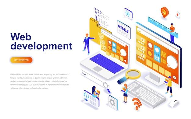 Concept isométrique de conception web design plat moderne.