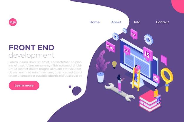 Concept isométrique de conception web et de développement frontal