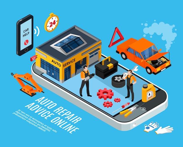 Concept isométrique de conseils en ligne de réparation automobile avec des pièces détachées illustration vectorielle