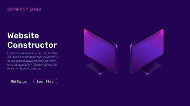 Concept isométrique de constructeur de site web