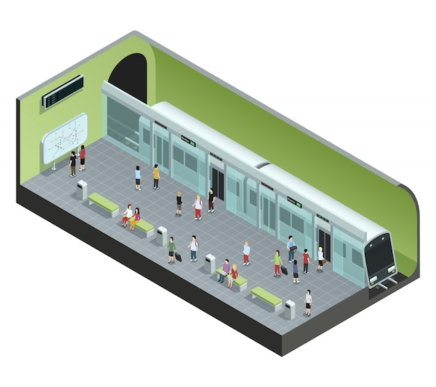 Concept isométrique en couleur représentant une station de métro avec train et passagers