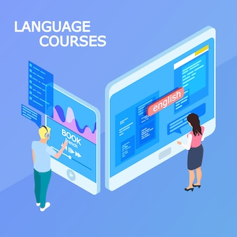 Concept isométrique de cours de langues en ligne