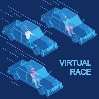 Concept isométrique de course de réalité virtuelle vecteur 3d