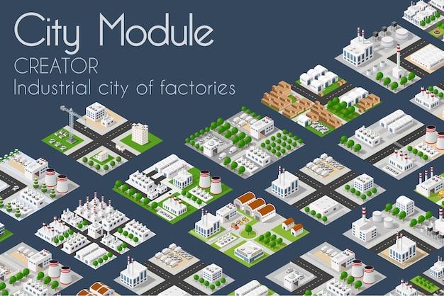 Concept isométrique de créateur industriel d'usine d'usine de module de ville