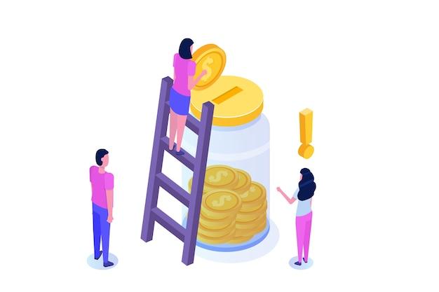 Concept isométrique de crowdfunding ou de don avec caractère.