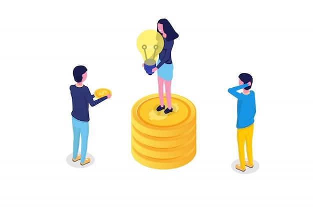 Concept isométrique de crowdfunding avec des personnes. illustration vectorielle.