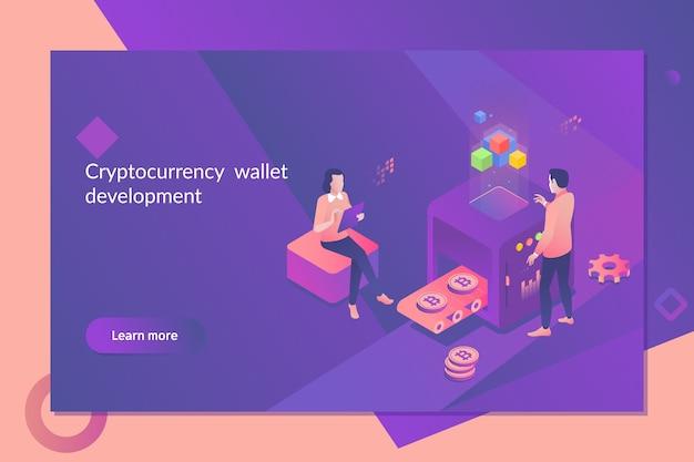Concept isométrique de crypto-monnaie et blockchain