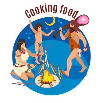 Concept isométrique de cuisine de l'âge de pierre avec des symboles alimentaires